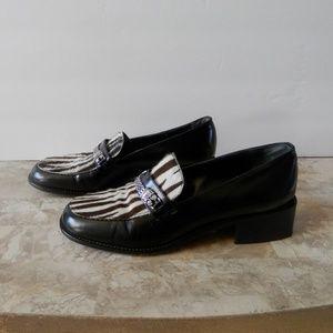 Brighton Italian Calf Hair Zebra Print Loafers